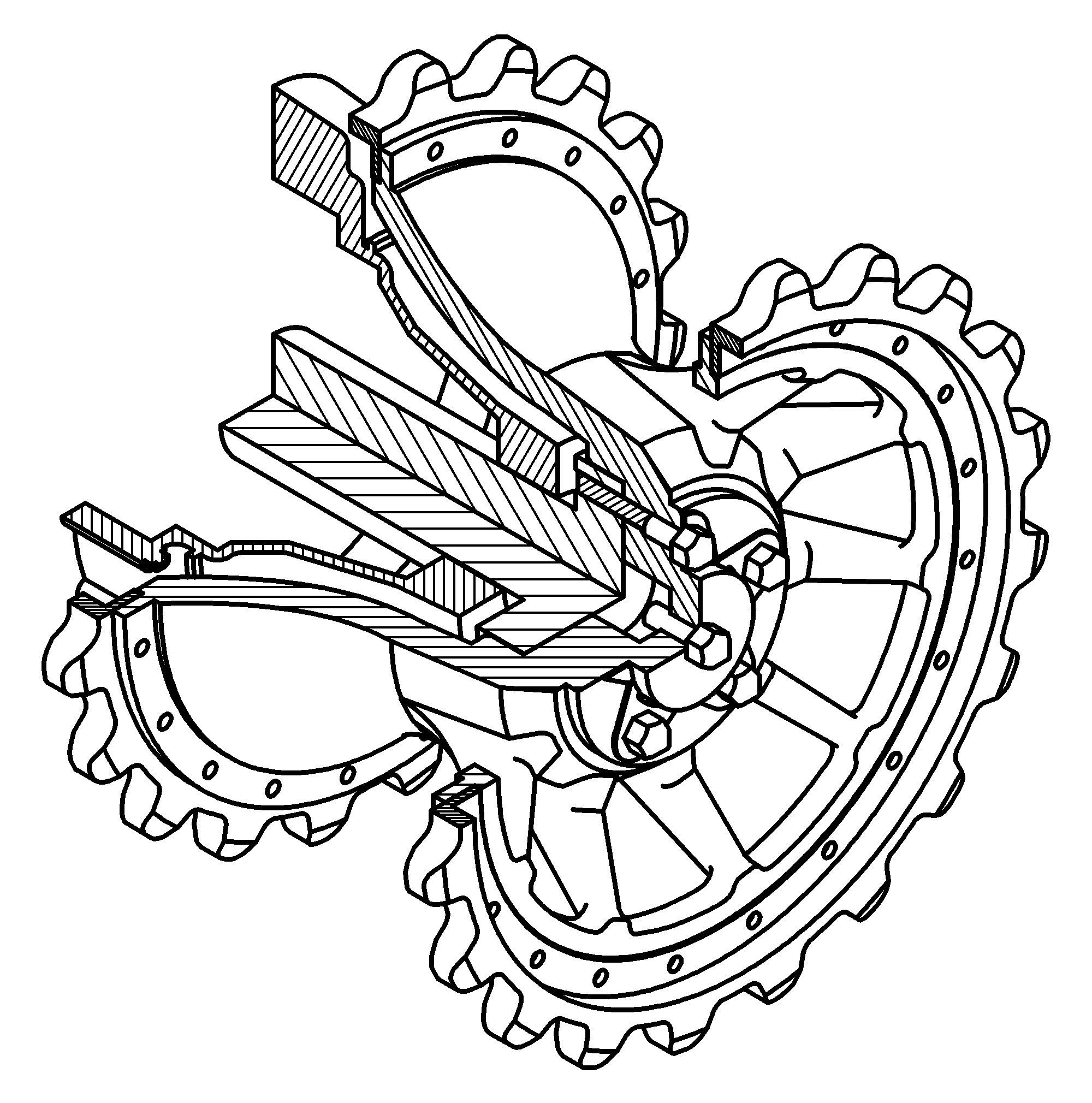 20 Ведущее колесо и редуктор изометрия